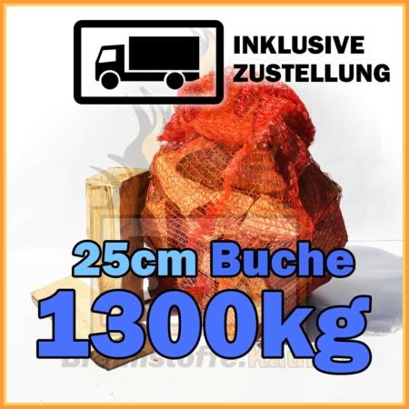 1300kg Brennholz Buche 25cm geliefert in 15kg Netzsäcke