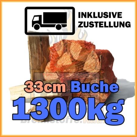 1300kg Brennholz Buche 33cm geliefert in 15kg Netzsäcke