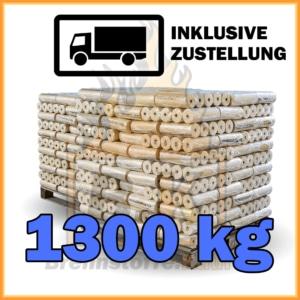 1300 kg Weichholzbriketts mit Loch in 10 kg Paketen
