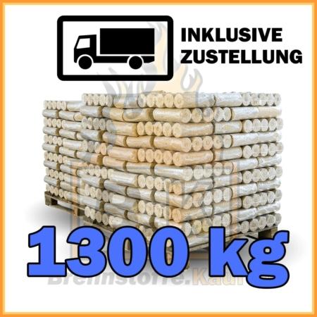 1300 kg Weichholzbriketts ohne Loch in 10 kg Paketen