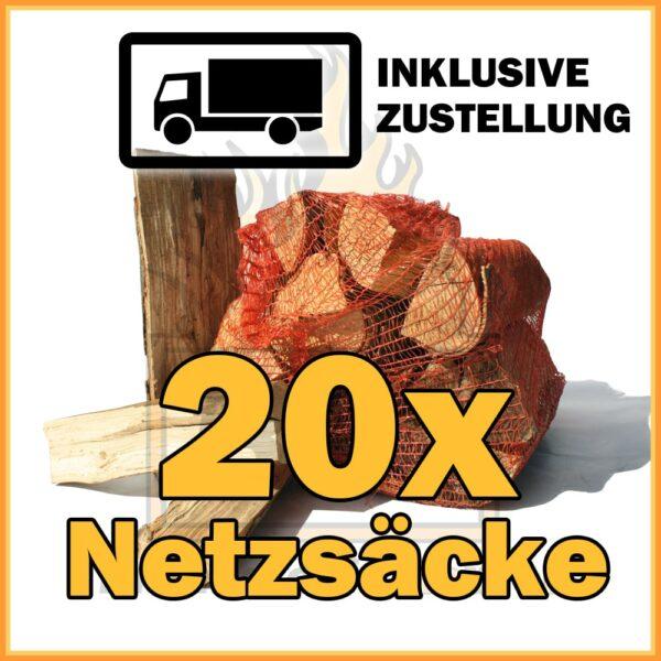 20 Netzsäcke Brennholz 33cm