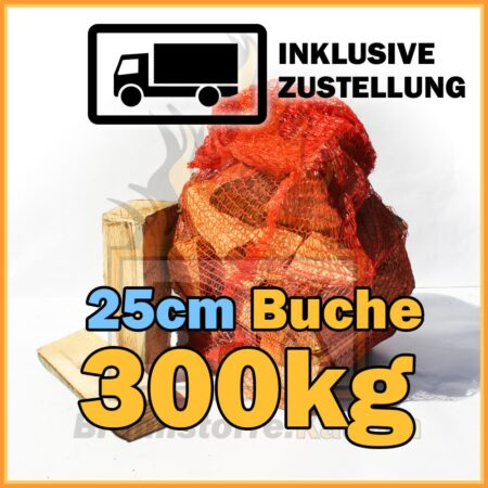 300kg Brennholz Buche 25cm geliefert in 15kg Netzsäcke