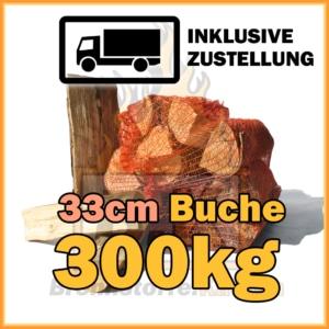 300kg Brennholz Buche 33cm geliefert in 15kg Netzsäcke