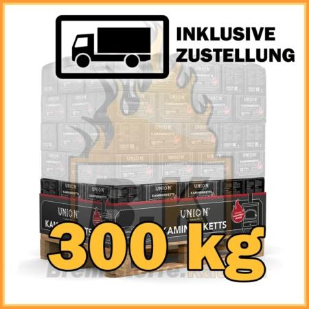 300 kg Union Kaminbriketts in Papierpaketen mit Lieferung