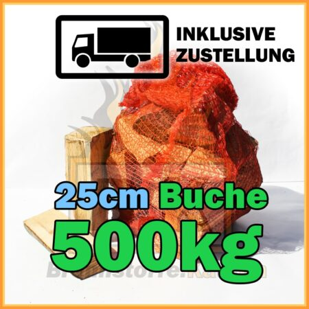 500kg Brennholz Buche 25cm geliefert in 15kg Netzsäcke