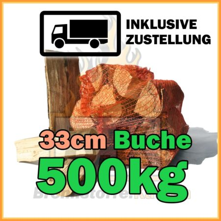 500kg Brennholz Buche 33cm geliefert in 15kg Netzsäcke
