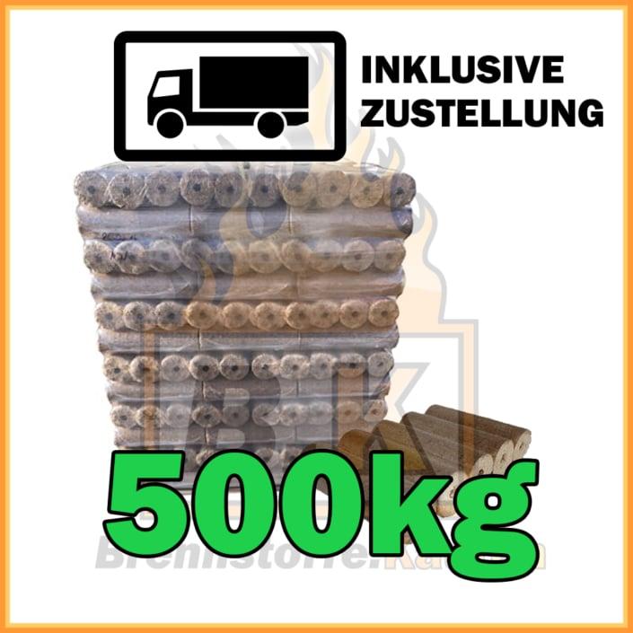 500kg Holzbriketts dunkel mit Loch in 10kg Pakete