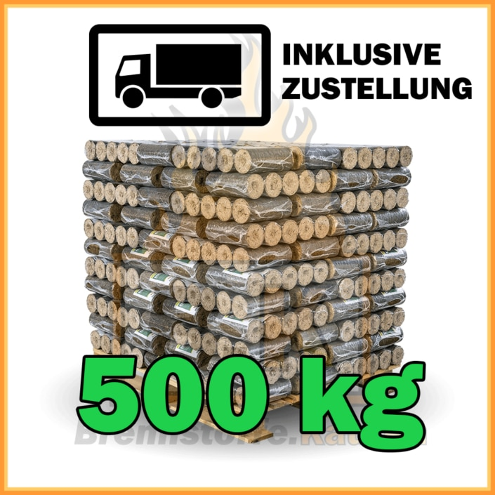 500kg Holzbriketts dunkel ohne Loch in 10kg Pakete