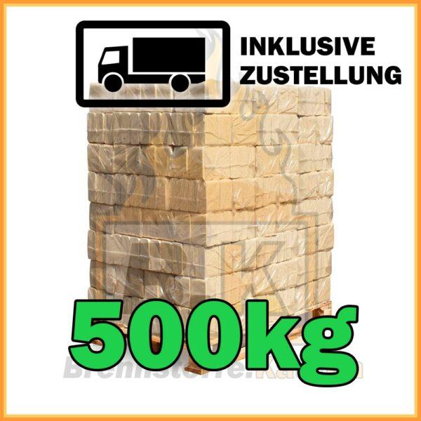 500kg Holzbriketts Buche ziegelform in 10kg Paketen
