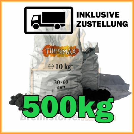 500kg Thermax Koks eiförmig in 10kg Plastiksäcken