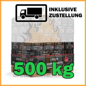 500 kg Union Kaminbriketts in Papierpaketen mit Lieferung