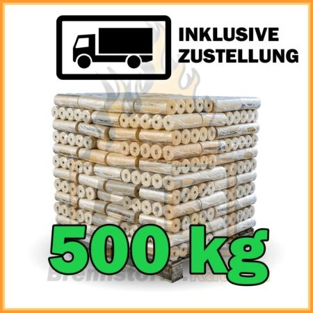 500 kg Weichholzbriketts mit Loch in 10 kg Paketen