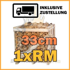 Brennholz 1 Raummeter Kiste 33cm getrocknet inklusive Zustellung