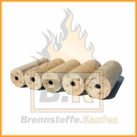 Holzbriketts hell mit Loch liegend