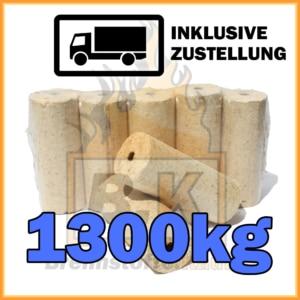 1300kg Holzbriketts hell mit Loch geliefert in 10kg Paketen