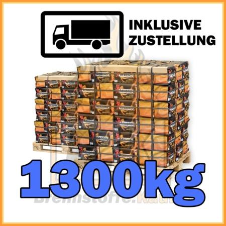 1300kg Rekord Braunkohle Briketts geliefert in 10kg Plastikpaketen