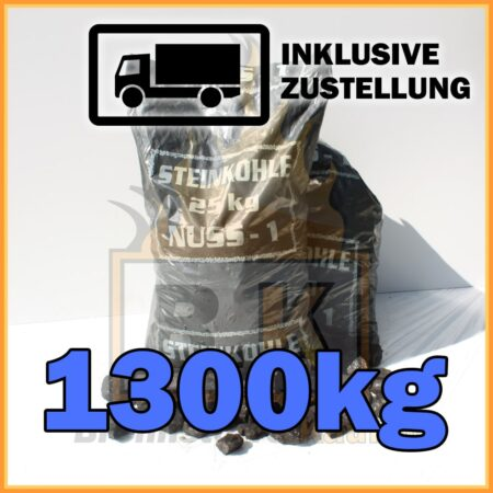1300kg Steinkohle Nuss1 geliefert in 25kg Plastiksäcken