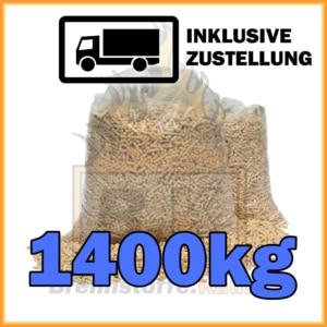 1400kg Holzpellets in 15kg Plastikstäcken
