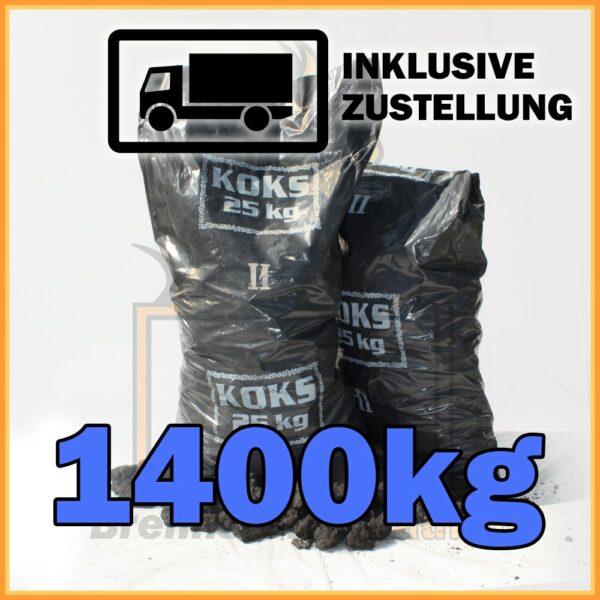 1400kg Hüttenkoks Brech 2 (40 bis 60mm) 25kg Sack