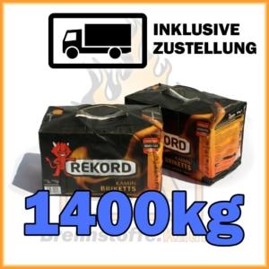 1400kg Rekord Briketts in 10kg Paketen