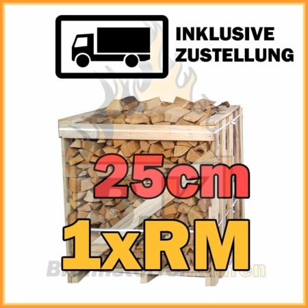 Brennholz 1 Raummeter Kiste 25cm getrocknet inklusive Zustellung