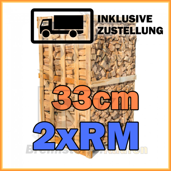 Brennholz 2 Raummeter Kiste 33cm getrocknet inklusive Zustellung