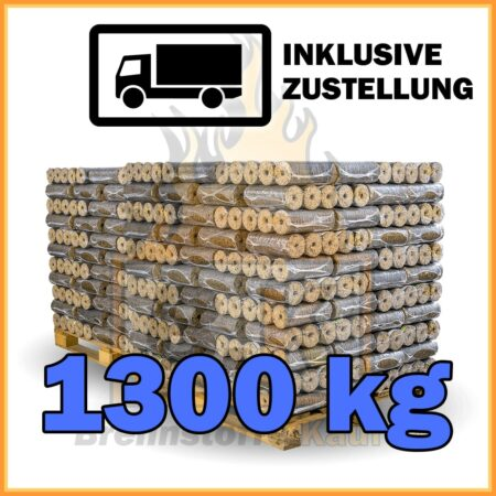 1300 kg Hartholzbriketts mit Loch in 10 kg Paketen mit Lieferung