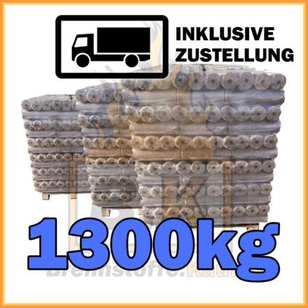 1300kg Holzbriketts dunkel mit Loch geliefert in 10kg Paketen