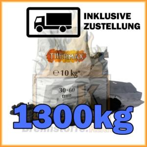 1300kg Thermax Koks geliefert in 10kg Plastiksäcken