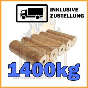 1400kg Holzbriketts dunkel mit Loch in 10kg Pakete
