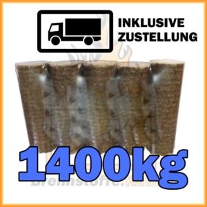 1400kg Holzbriketts dunkel ohne Loch in 10kg Pakete
