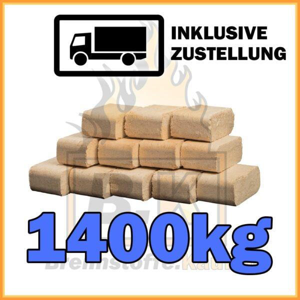 1400kg Holzbriketts Buche ziegelform in 10kg Paketen