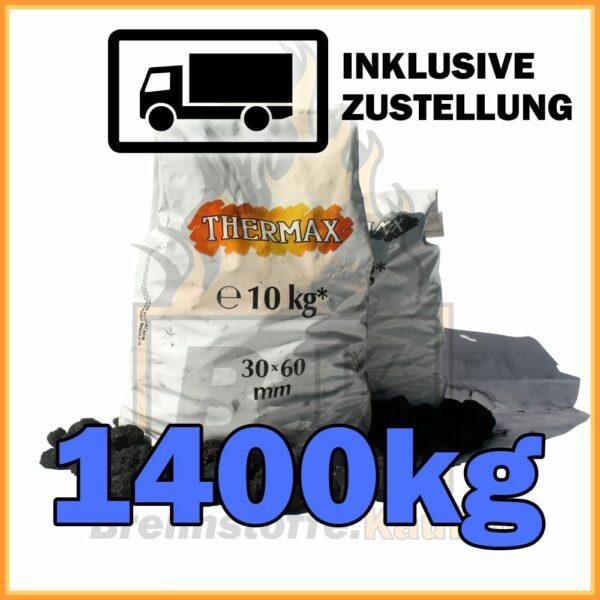 1400kg Thermax Koks eiförmig in 10kg Plastiksäcken