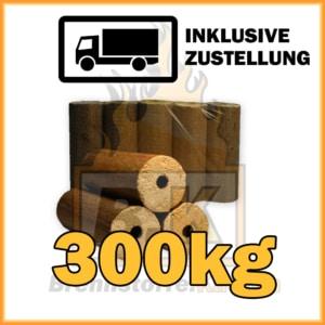 300kg Holzbriketts dunkel mit Loch in 10kg Pakete