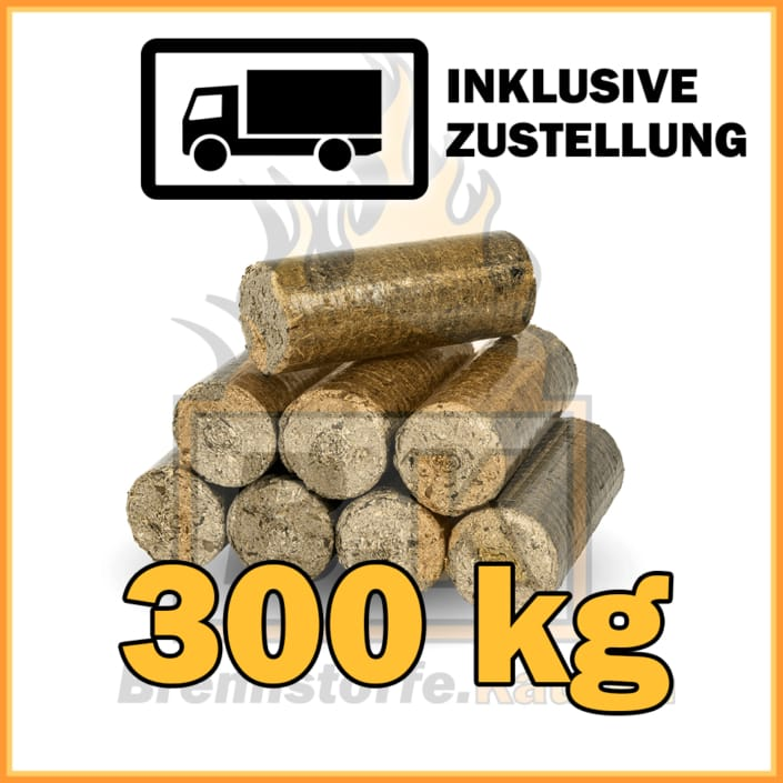 300kg Holzbriketts dunkel ohne Loch in 10kg Pakete