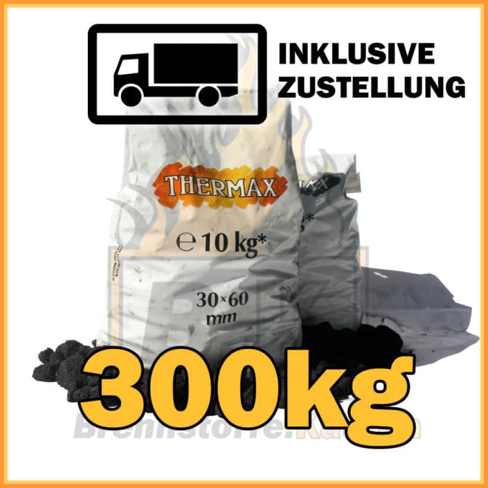 300kg Thermax Koks eiförmig in 10kg Plastiksäcken