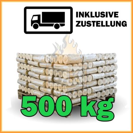 500 kg Weichholzbriketts mit Lieferung - 50 Pakete á 10 kg