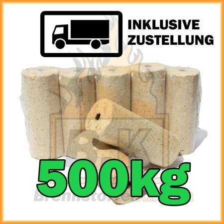 500kg Holzbriketts hell mit Loch in 10kg Pakete