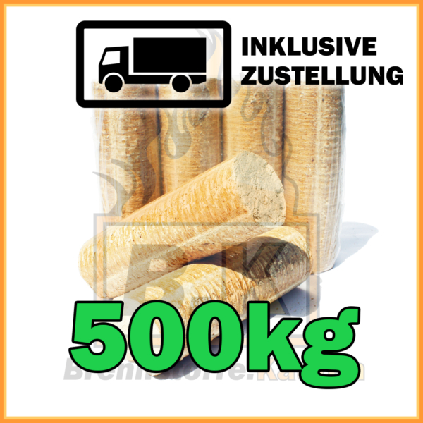 500kg Holzbriketts hell ohne Loch in 10kg Pakete