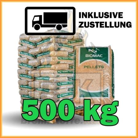 500kg Holzpellets in 15kg Plastikstäcken
