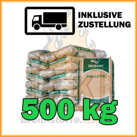 500 kg Holzpellets auf halber Palette in 15 kg Plastiksäcke