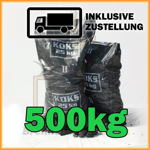 500kg Hüttenkoks Brech 2 (40 bis 60mm) 25kg Sack