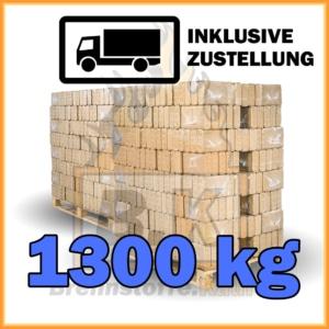 1300 kg Holzbriketts eckig Buchenholz in 10 kg Plastikpaketen