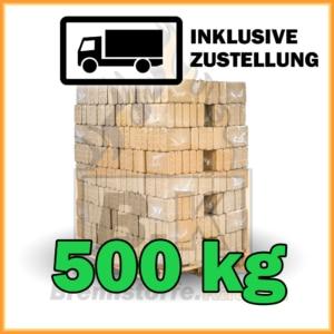 500 kg Holzbriketts eckig Buchenholz in 10 kg Plastikpaketen