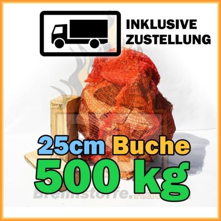 500 kg Brennholz 25 cm im Netzsack