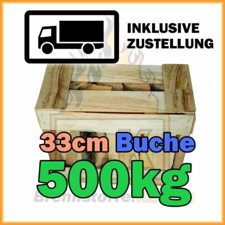500kg Brennholz Buche 33 cm in Holzkisten