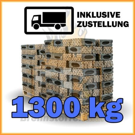 Holzbriketts Buche mit Loch - Pini & Kay - 1300 kg in 10 kg Paketen