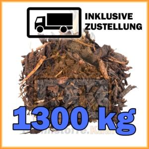 1300 kg Rindenmulch grobe Körnung in 40 Liter Säcken