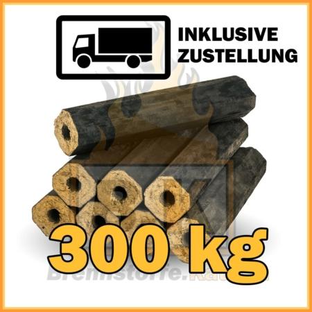 Holzbriketts Buche mit Loch - Pini & Kay - 300 kg in 10 kg Paketen