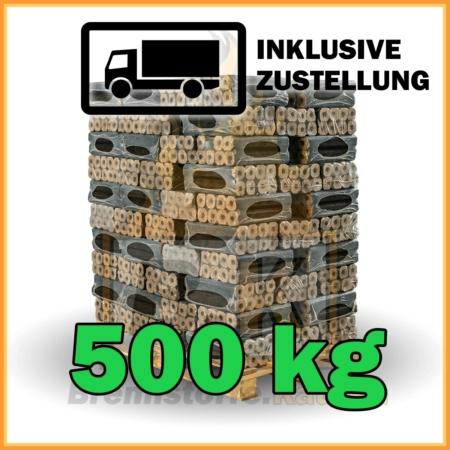 Holzbriketts Buche mit Loch - Pini & Kay - 500 kg in 10 kg Paketen